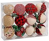 Brubaker 12-teiliges Set Weihnachtskugeln Jute bezogen - natürlicher Weihnachtsbaumschmuck Rot Grün