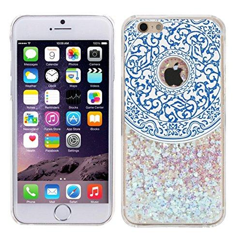 iPhone 6 / 6S Glitzer Hüll von Danura PINK, Liquid Case, Glitter Hülle Cool 3D Fließen Flüssig Bling Schwimmend Treibsand Stern Luxus Shiny Case Glanz Shiny Effekt Kristall Crystal Bunte Herz Hülle Blue Circle