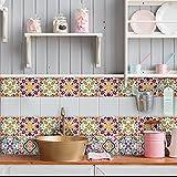 32 (Piezas) Adhesivo para Azulejos 15x15 cm - PS00037 - Junio - Adhesivo Decorativo para Azulejos para baño y Cocina - Stickers Azulejos - Collage de Azulejos