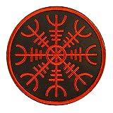 Parche vikingo Aegishjalmr, timón de protección del terror, runa nórdica, para planchar o coser, bordado
