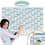 Kalender Wandkalender Jahresplaner 2019 groß - FSC Papier 84x58.5cm(großem A1) gefalzt mit Praktischer Marker, Jahresplaner 14 Monate Jan 2019 - Feb 2020 fürs Büro