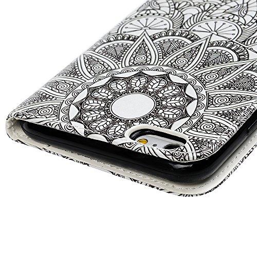 Badalink Hülle für iPhone 6 / iPhone 6S Buntes Kleine Schädelblume Handyhülle Leder PU Case Cover Magnet Flip Case Schutzhülle Kartensteckplätzen und Ständer Handytasche mit Eingabestifte und Staubsch Schwarz Weiß Mandala Totem