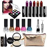 Adbeni Summer Vacation Combo Offer Makeup Set (9 Color Eyeshadow,Eyeliner, Nail Paint, Kajal, Compact, Lipstick & Silver Make