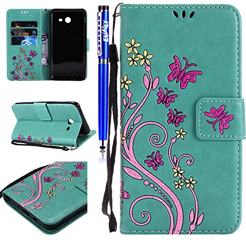 Price comparison product image FESELE Samsung Galaxy J3 2017 Case(U.S. Edition) Samsung Galaxy J3 2017 Cover Glitter Butterfly Flower Pattern Painted PU Leather Case Book Style Magnetic Closure PU Leather Wallet Elegant Classic Flip Cover Case Card Slot and Banknotes Pocket with Hand Strap For [Samsung Galaxy J3 2017] + 1 x Blue Stylus Pen - Colored, Green