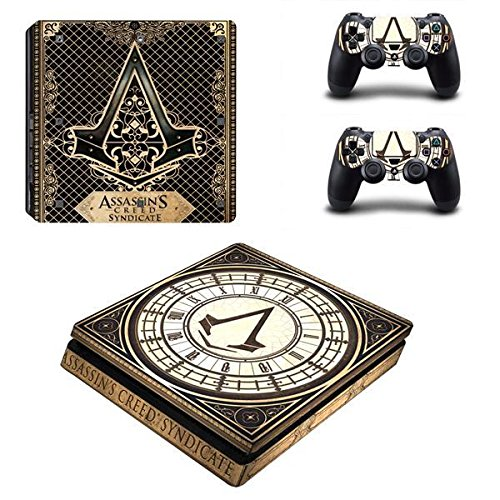 Playstation 4 Slim + 2 Controller Aufkleber Schutzfolien Set - Assassins Creed Syndicate /PS4 S