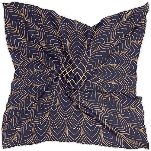 AIZENN Bufanda grande de plumas de pavo real con mandala floral vintage de seda, pañuelo cuadrado pañuelo chal envoltorio 99 × 99 cm