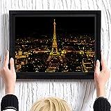 Kratzbilder Scratch Bright City View DIY Zeichnung Malerei Wandbild mit Rahmen für Home Decorating, beste Geschenke für Kinder und Erwachsene Druck, kreative Geschenke, 2 Grafiken (Eiffelturm, London Nachtansicht)