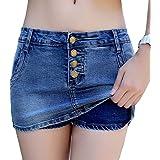Lovelegis Minigonna Jeans - Shorts - Pantaloncini - Pantaloni - Elasticizzata - Borchie - Denim - Sexy - Bottoni - Idea Regal