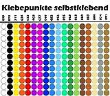 1800 15mm PVC Klebepunkte 100 Stück von jeder Farbe. Klebepunkte Punkt Aufkleber von Finest-Folia GmbH Inventur Kreise Folie