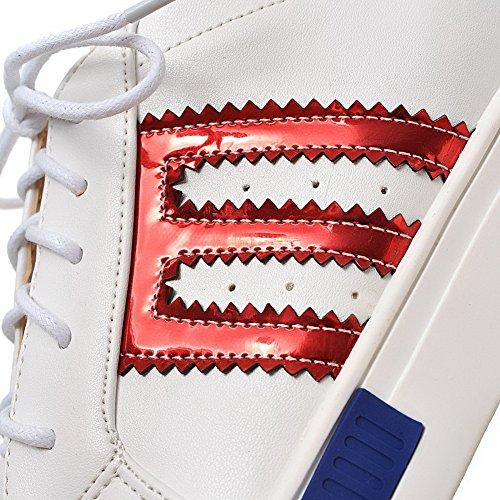 VogueZone009 Damen Rund Zehe Schnüren Pu Leder Gemischte Farbe Niedriger Absatz Pumps Schuhe Rot