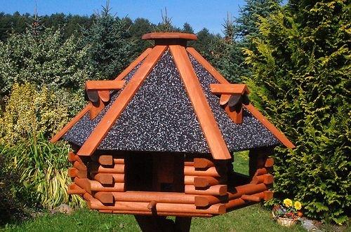 XXL Luxus Vogelhaus Futterhaus Vogelhäuser 70×45 cm Nr13s Dach mit Strukturputz inkl. Ständer - 2