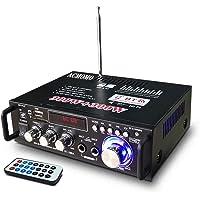 600W Amplificatore, HiFi Audio Stereo BT Radio Portatile per Auto o Casa, con Telecomando ed Mini Display 2CH LCD, 12 V…