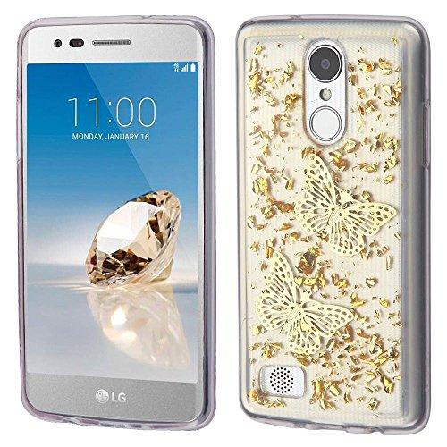 MyBat Krystal Gel Serie, Handy Fall für LG K4–Gold Schmetterlinge Glitter - Iphone Verizon Handy