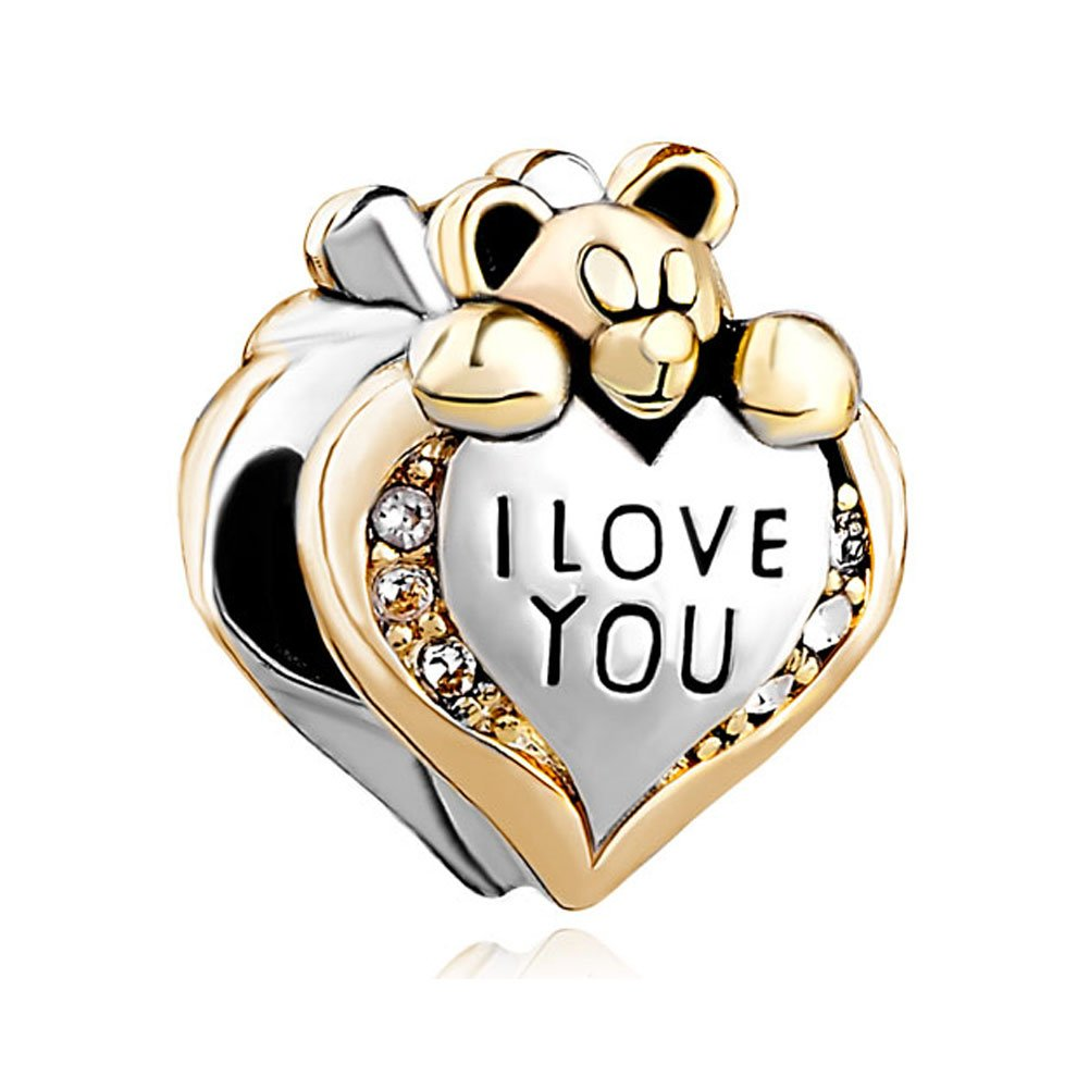 Uniqueen Heart I Love You Bear Clear Birthstone Crystal Charms Beads fit Chamilia Bracelet