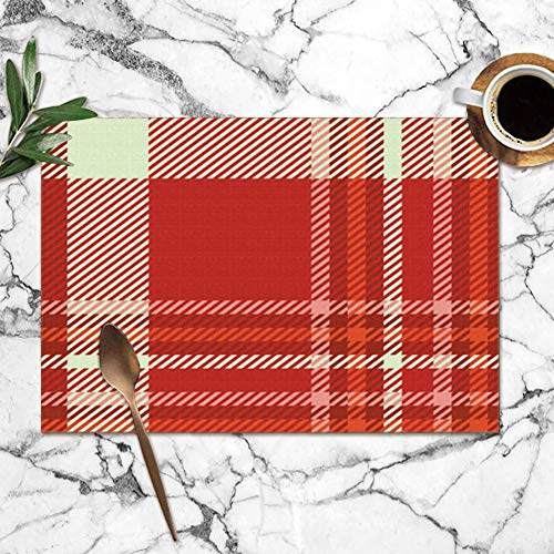 Nicegift Placemats Set of 6,Plaid Shades Red Burgundy Pink Beauty Fashion Heat-Resistant Placemats Washable Table Mats for Kitchen Dining Table 12X18 Inch Burgundy Heat