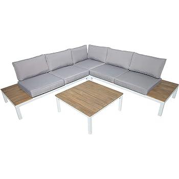 Riess Ambiente Garten Sitzgruppe Miami Lounge weiß grau Gartenmöbel ...