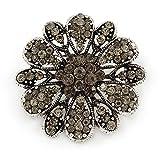 Vintage inspiriert grau Farbige Österreichischer Kristall Floral Brosche in Antik Silber Ton–43mm D
