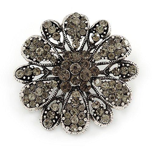 Vintage inspiriert grau Farbige Österreichischer Kristall Floral Brosche in Antik Silber...