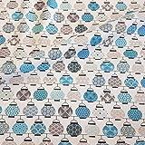 Stoff Baumwollstoff Meterware Japan Lampions weiß blau grau Seigaiha Asanoha Neu Chochin