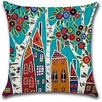 Decorativa almohada multicolor Casas Impresión Impreso Sofá Decoración Cojín Caso agarre Bar Funda de almohada cojín de móvil Salón 4