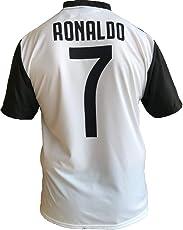 juve T-Shirt Fußball Cristiano Ronaldo 7 CR7 Juventus Home Saison 2018-2019 Replica Offizielle mit Lizenz - Alle Größen Kinder (2 4 6 8 10 12 Jahre) und Erwachsene (S M L XL)