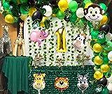 vamei 149pcs Jungle Party Decoration di Compleanno della Giungla Palloncino in Alluminio Nappe Verde Foglie Palma Tropicale Monstera per Hawaiian Luau la Festa di Compleanno Party Decorazioni