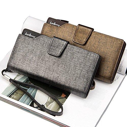 iVotre Grandi Capacità Portafoglio Per Gli Uomini Con Zip &Amp; Fibbia, Pu Cuoio Bifold Borsa Con Cinturino Da Polso Snap &Amp; Zip Chiusura Per Viaggi, Affari D'Oro grey