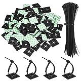 100 Pezzi Nero Fascette Stringicavo Adesivo di Montaggio Autoadesivo Cavo Clip Fermacavi 1.1 x 1.1 Pollici con Nero Multi-Scopi Fascette, 8 Pollici