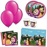 Kit festa compleanno Masha e Orso, 40 ospiti (40 piatti+ 40 bicchieri+ 40 tovaglioli+1 tovaglia masha e orso-6 palloncini)