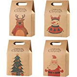 Hemoton, sacchetti regalo natalizi in carta kraft resistente, ideali per caramelle, cioccolatini, biscotti, alimenti, per fes