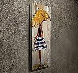 LaModaHome Deko Leinwand Art Wand (30,5x 78,7cm) Holz Dick Rahmen Gemälde Zeichnung Regenschirm Frau Kleid Cute Sweet Multi Varianten in Store.