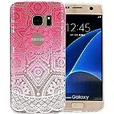 JIAXIUFEN Coque pour Samsung Galaxy S7 Edge Silicone Étui Housse TPU Protecteur - Pink White Tribal Henna