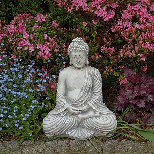 Großer masssiver Stein - Buddha Tempelwächter aus Steinguss frostfest (Grau) (Buddha Groß)
