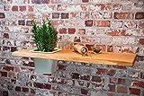 Pflanzregal von GreenHaus, aus deutscher Eiche Massivholz, in Handarbeit gefertigt, rustikales Wandboard, natürliches Wandregal (Naturkante mit Einsatz links)