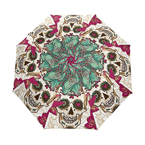 bennigiry Halloween rosa azúcar calaveras resistente al viento impermeable compacto paraguas de viaje–Auto abierto cierre plegable paraguas sombrilla de transporte resistente ligero fácil para los hombres mujeres y niños