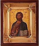Große Hölzerne Icon von Christus Pantokrator. Icon of Jesus Christus, Handgearbeitet in Griechenland. Jesus Bild so ein das Symbol. Wandbehang Religiöse Ikonographie 19cms x 24cms