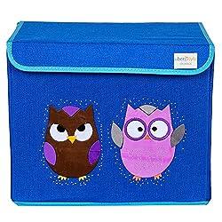 UberLyfe Kids Toy Storage Box - Blue Color - Brown & Purple Owl (KSB-001305-11)