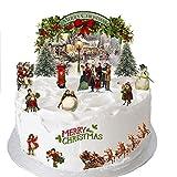 Traditionelles Vintage Viktorianisches Weihnachten Stand Up Szene aus Essbar Wafer Papier ideal für Dekorieren Ihre Weihnachten Dekorationen einfach zu verwenden