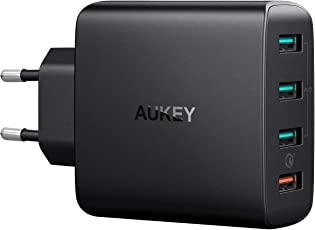 AUKEY Quick Charge 3.0 USB Ladegeraet 42W 4 Ports USB Netzteil mit AiPower Tech für Samsung Galaxy S9 / S8+ / Note 8, LG G5 / G6, Nexus 5X / 6P, HTC 10, iPhone X / 8/8 Plus, iPad Pro/Air usw.
