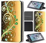 CoverHeld Hülle für Samsung Galaxy S6 Edge G925 Premium Flipcover Schutzhülle aus Kunstleder Flip Case Motiv (1375 Abstract Smaragd Grün Gold Farben)