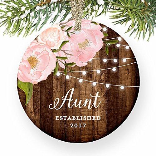 Ornament, Tante Est. 1St Christmas ein Auntie Baby Nichte Geschenk etablierten datiert, von Schwester Peony Weihnachtsbaum Geschenk Idee (Datiert Weihnachtsbaum Ornamente)