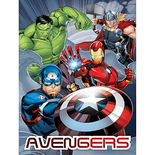 Marvel Decke Avengers Team 150 x 200 cm Captain America Thor Ironman Hulk Loki Thanos Shield Black Widow Hawkeye Flanelldecke Fleecedecke First Avenger Endgame Infinity War Kuscheldecke z. Bettwäsche