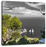 Insel Capri in Italien B&W Detail, Format: 70x70 auf Leinwand, XXL riesige Bilder fertig gerahmt mit Keilrahmen, Kunstdruck auf Wandbild mit Rahmen, günstiger als Gemälde oder Ölbild, kein Poster oder Plakat