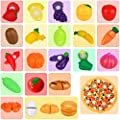 APLANET 33pcs Cutting Toys Food Fruit and Vegetable Bread Education Toys Kitchen Toys, with Packing Bags