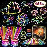 Kimimara 200 Knicklichter, 200 Leuchtstäbe Party Pack inkl mit 268 Verbinder, Glowstick Verbinder für Armbänder und Halsketten, Leuchtspielzeug für Kinder