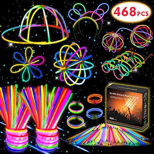 Imagen de kimimara 200 barras luminosas , pack con 200 piezas para fiestas, varillas luminosas con 268 conectores para pulseras y collares, juguetes de iluminación para niños colores variados