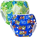 Teamoy 2pcs Baby Nappy riutilizzabile pannolino da nuoto, Turtles Green+ Cars Blue