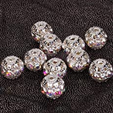 SLB Works 110pcs Alloy Round Crystal Beads DIY Jewelry Finding Making DIY Earrings