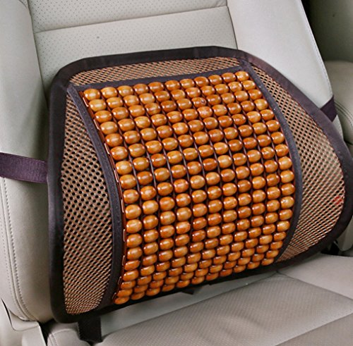 cdycam Sommer Auto Sitz Bürostuhl Lendenwirbelstütze Kissen Pad Holz Perlen Massage Lendenkissen, (Perlen Sitz-kissen)