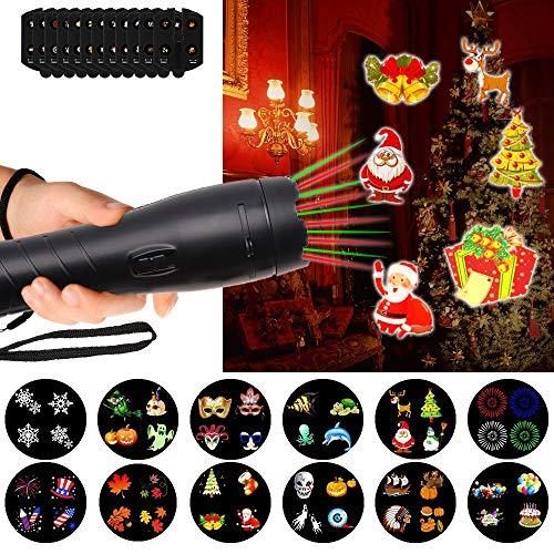 Proiettore Luci Natale, LTPAG Holiday Luce Proiettore Lampada LED 2 in 1 Proiettore Esterno - Bambini Lampada portatile Palmare Torcia di 12 Diapositive Patterns Luci decorative per feste.